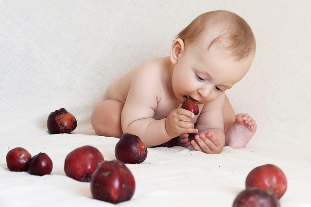 un bébé qui mangent des fruits